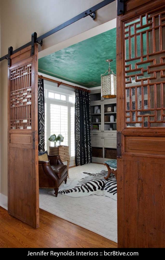 Jennifer Reynolds Interiors - Customized barn Door Entry & Custom Painted Ceiling