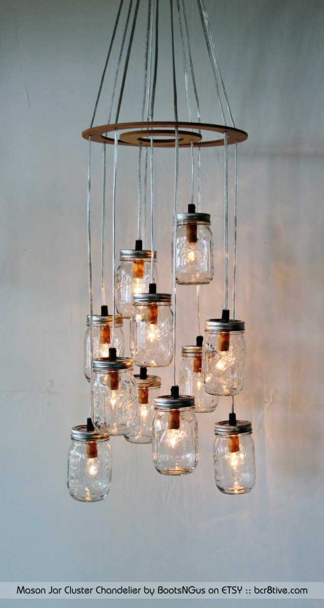 Mason Jar Cluster Chandelier by BootsNGus