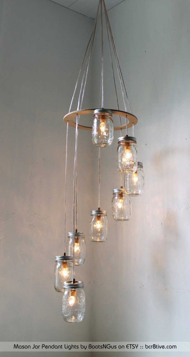 Mason Jar Pendant Lights by BootsNGus on Etsy