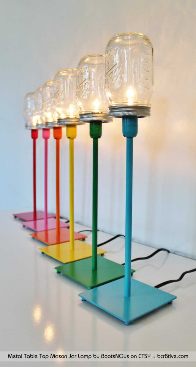 Metal Table Top Mason Jar Lamp by BootsNGus