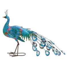 Metal Crafted Peacock Décor Figurine by Woodland Imports