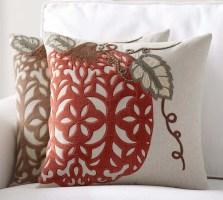 Velvet Pumpkin Applique Pillow Cover