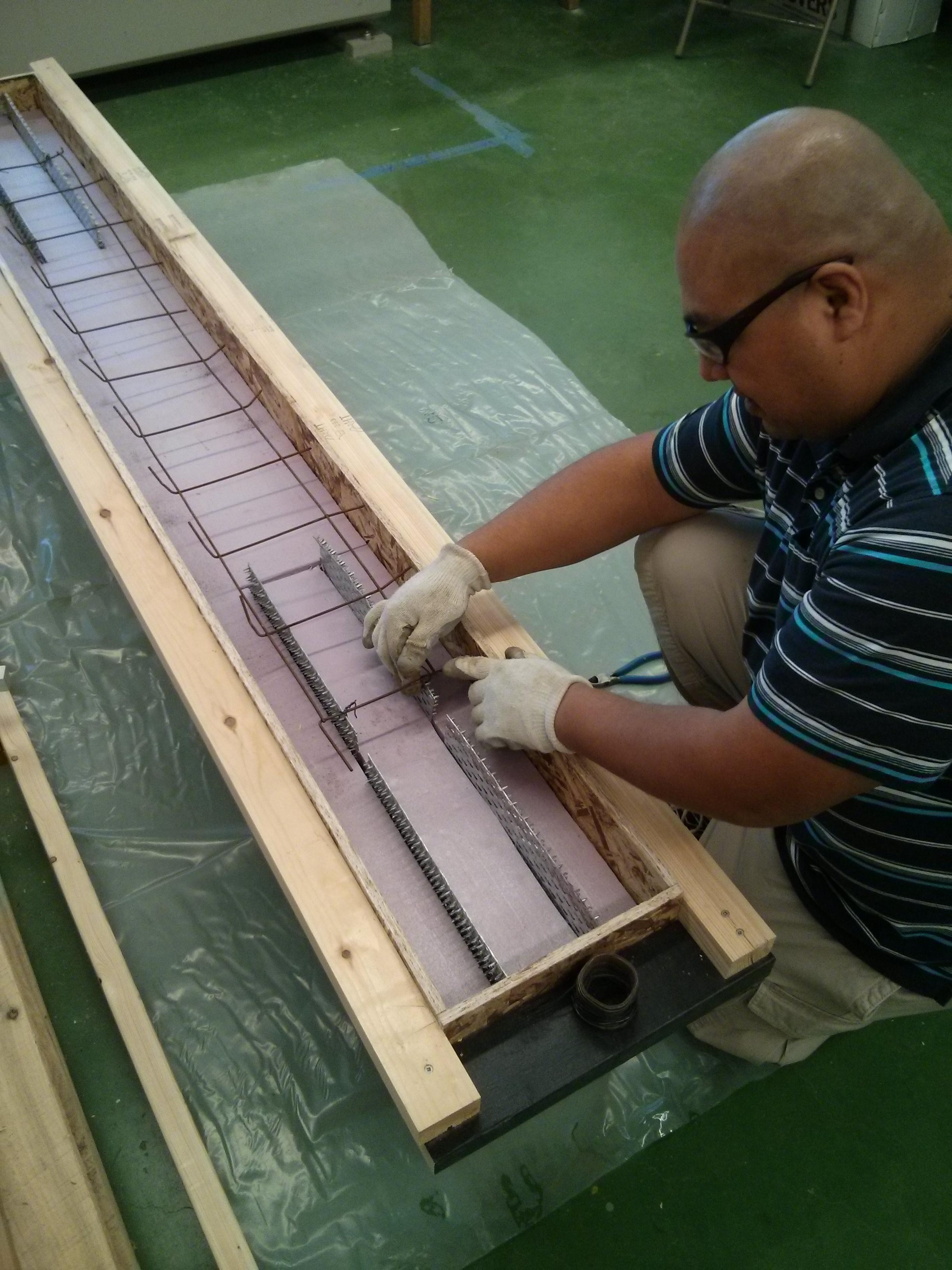 Installing some rebar (to control shrinkage)