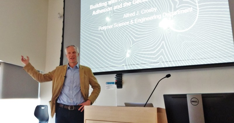 Polymer Science's Al Crosby gives talk about pressure-sensitive tapes