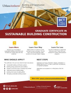 Certificate In Sustainable Building Construction Building And Construction Technology Umass Amherst