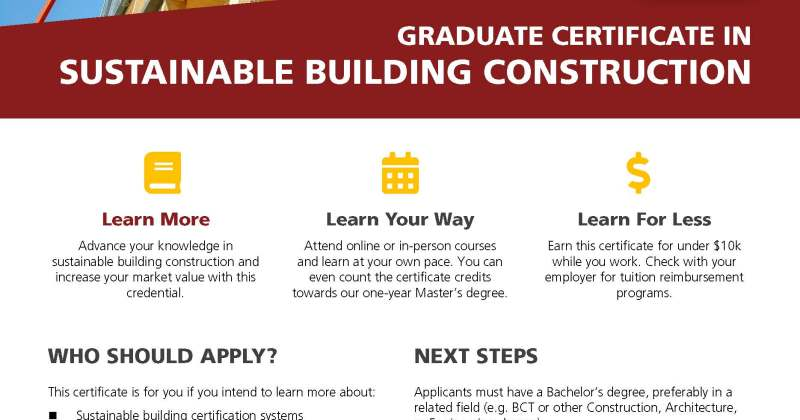 Introducing: Graduate Certificate in Sustainable Building Construction