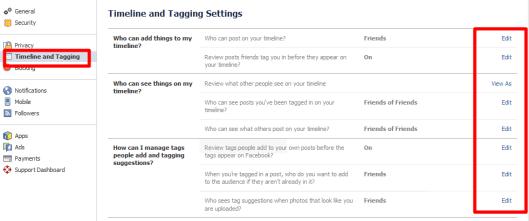 Facebook-timeline & Taging