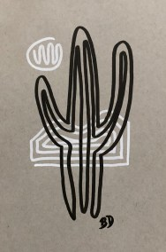 BLACK-SAGUARO_INK_6X8-ON-9X12_662X1000