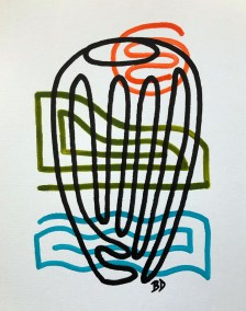 BLACK BARREL ON BLUE GREEN AND ORANGE_18X24_ACRYLIC ONE-LINE DRAWING_CROP_750X1000