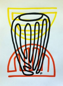 BLACK-BARREL-RED-ORANGE_18X24_ACRYLIC ONE-LINE DRAWING_CROP_750X1000