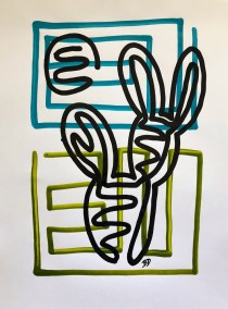 BLACK PRICKLY PEAR ON BLUE AND GREEN_18X24_ACRYLIC ONE-LINE DRAWING_CROP_750X1000