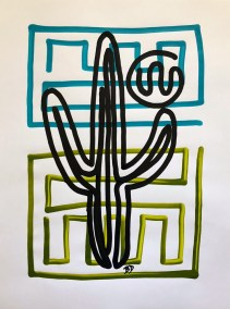 BLACK SAGUARO ON BLUE AND GREEN_18X24_ACRYLIC ONE-LINE DRAWING_CROP_750X1000