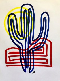 BLUE SAGUARO ON RED AND YELLOW_18X24_ACRYLIC ONE-LINE DRAWING_CROP_750X1000