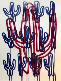 VIOLET DRIP SAGUARO ON BLUE_18x24_ACRYLIC DRIP DRAWING_CROP_750X1000