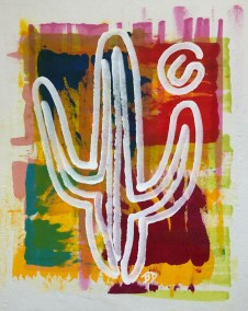 WHITE SAGUARO ON STAIN BKGD 1_18X24_ACRYLIC ONE-LINE DRAWING_CROP_750X1000