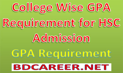 GPA Requirement HSC Admission 2020-21