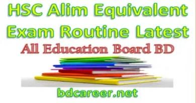 Alim Exam Routine 2019