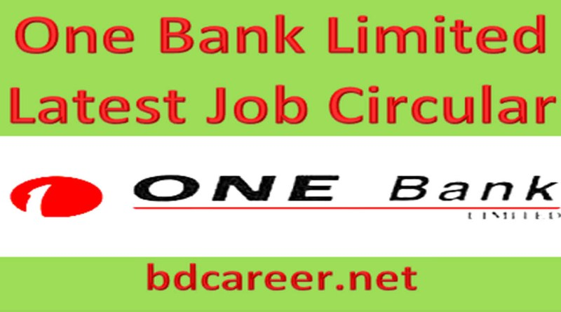 One Bank New Job Circular