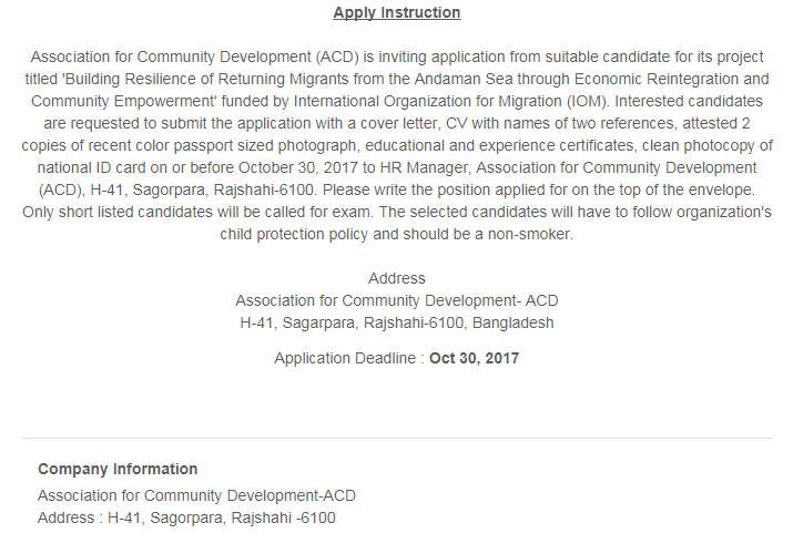 ACD ngo jobs 2020