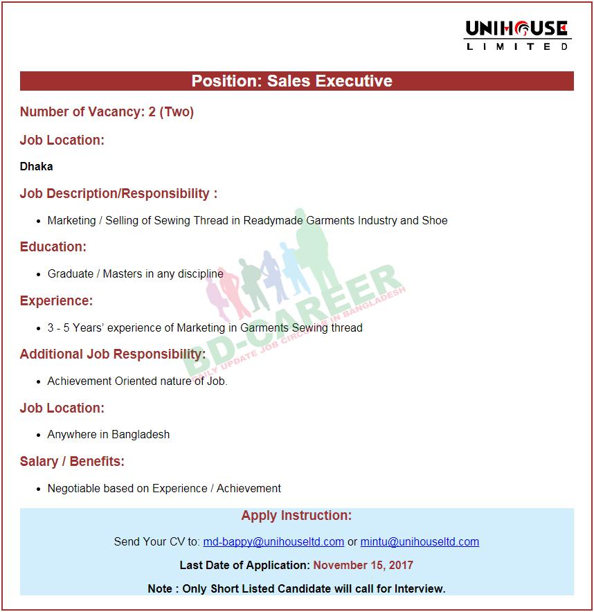 Unihouse Limited job circular