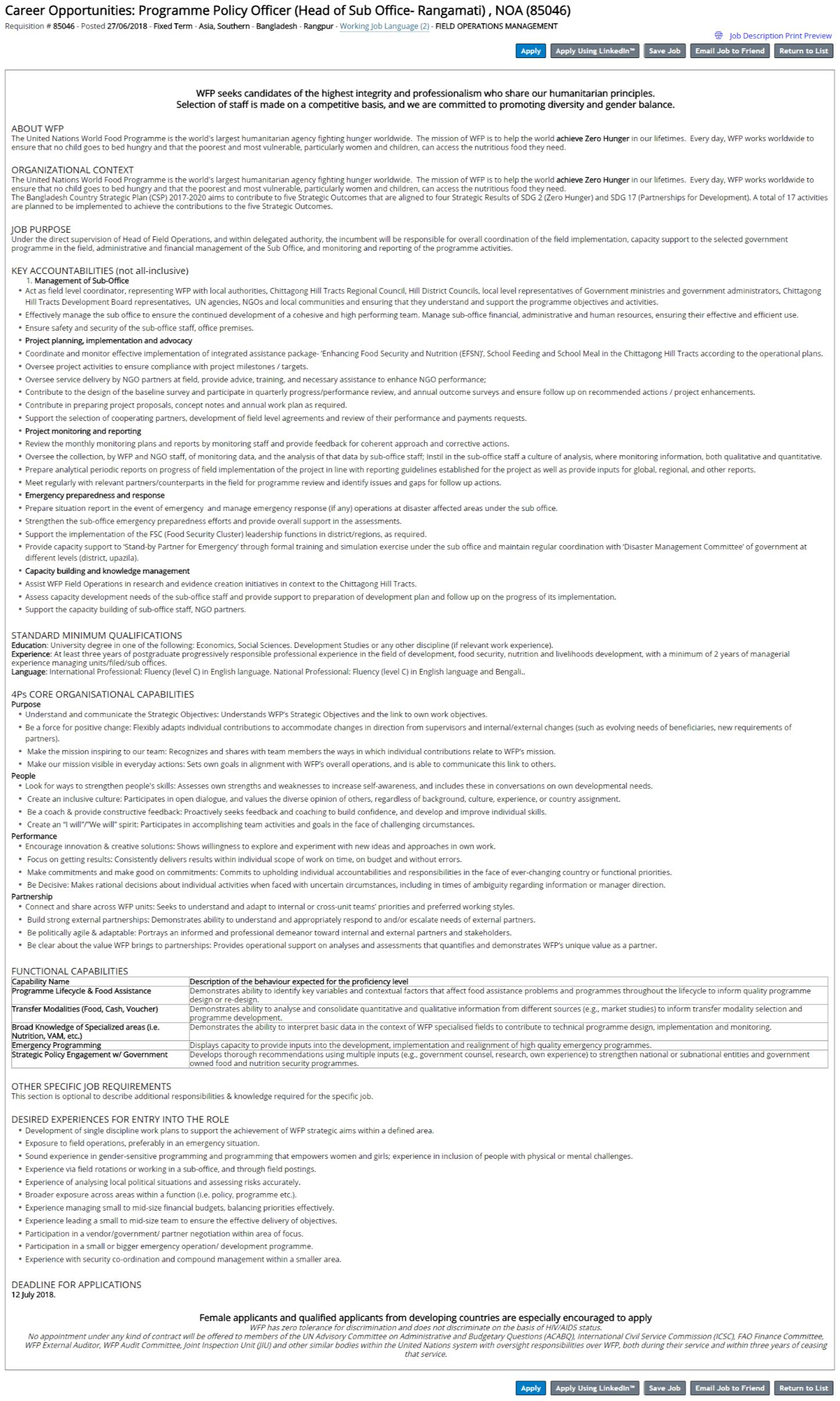 Career Opportunities_ Programme Policy Officer (Head of Sub Office- Rangamati) , NOA (85046)