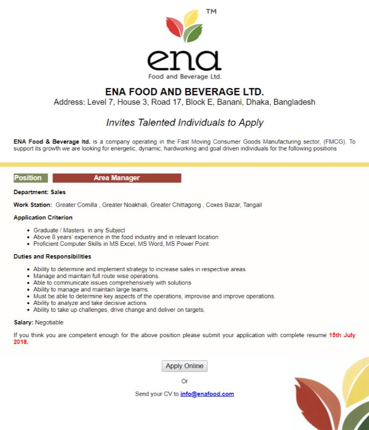 ENA Food Beverage ltd Job Circular