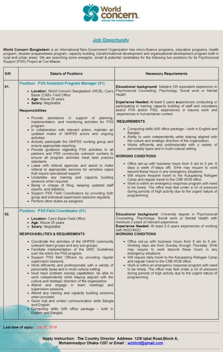 World Concern Bangladesh Job Circular
