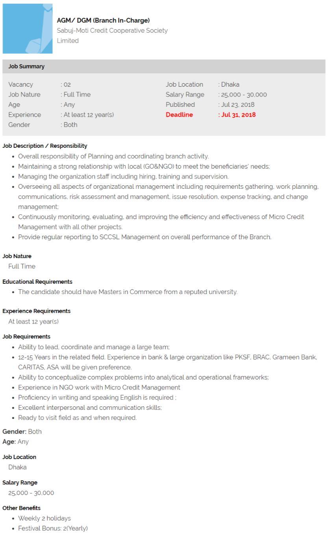 Sabuj-Moti Credit Cooperative Society Job Circular.