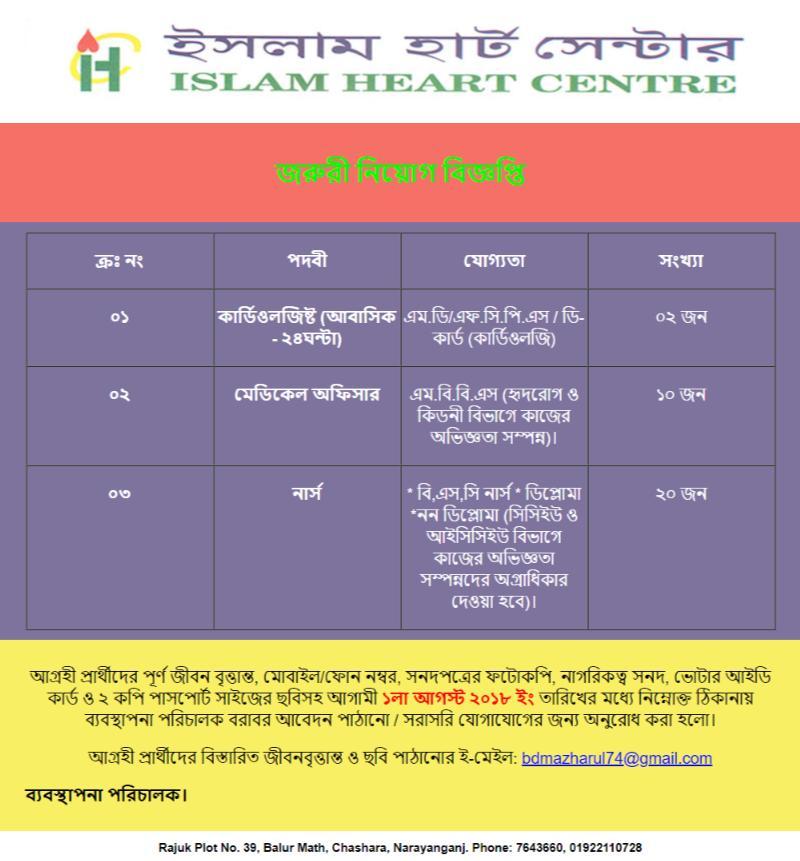 Islam Heart Centre Job Circular 2018