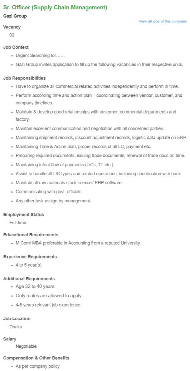 Gazi Group job circular