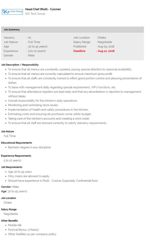 ISO Tech Group Job Circular