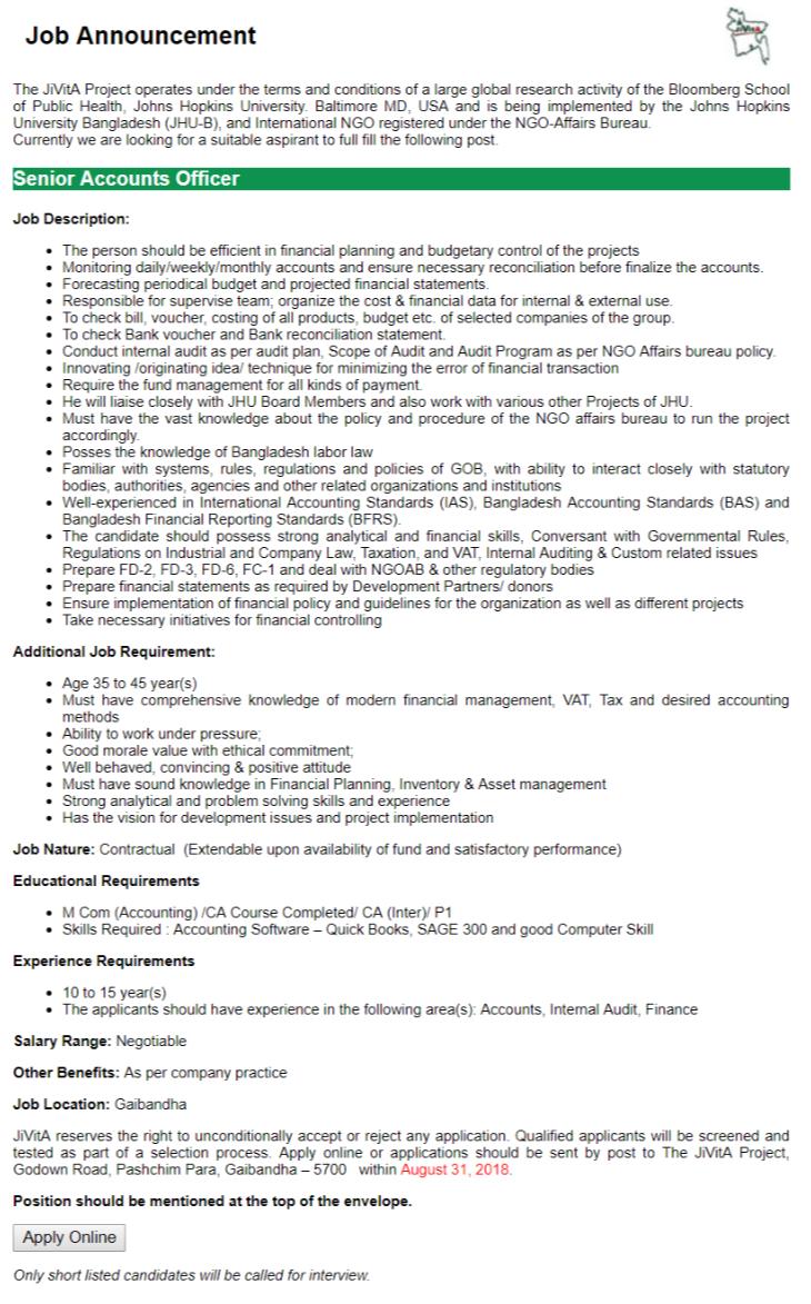 JiVitA NGO Job Circular