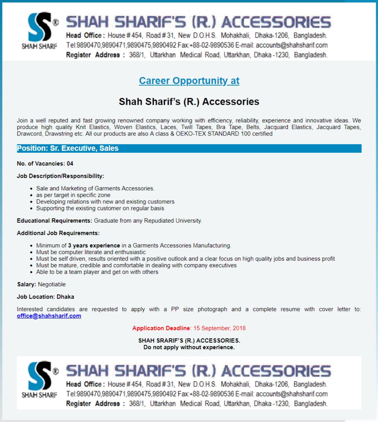Shah Sharifs Accessories Job Circular