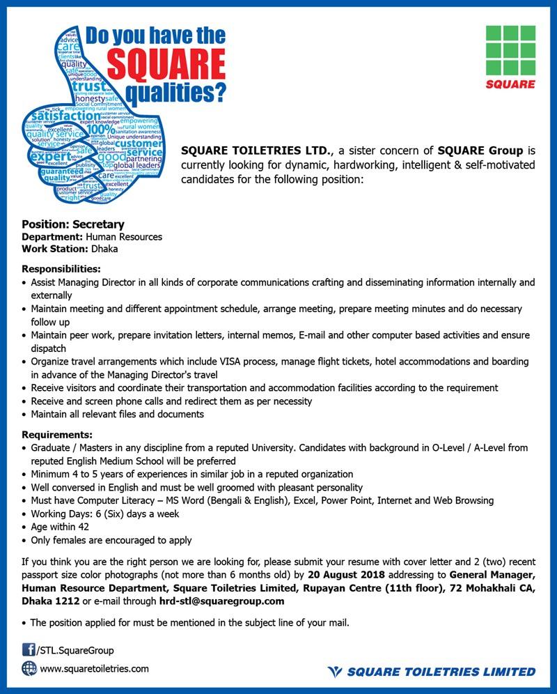 SQUARE Toiletries Ltd Job Circular