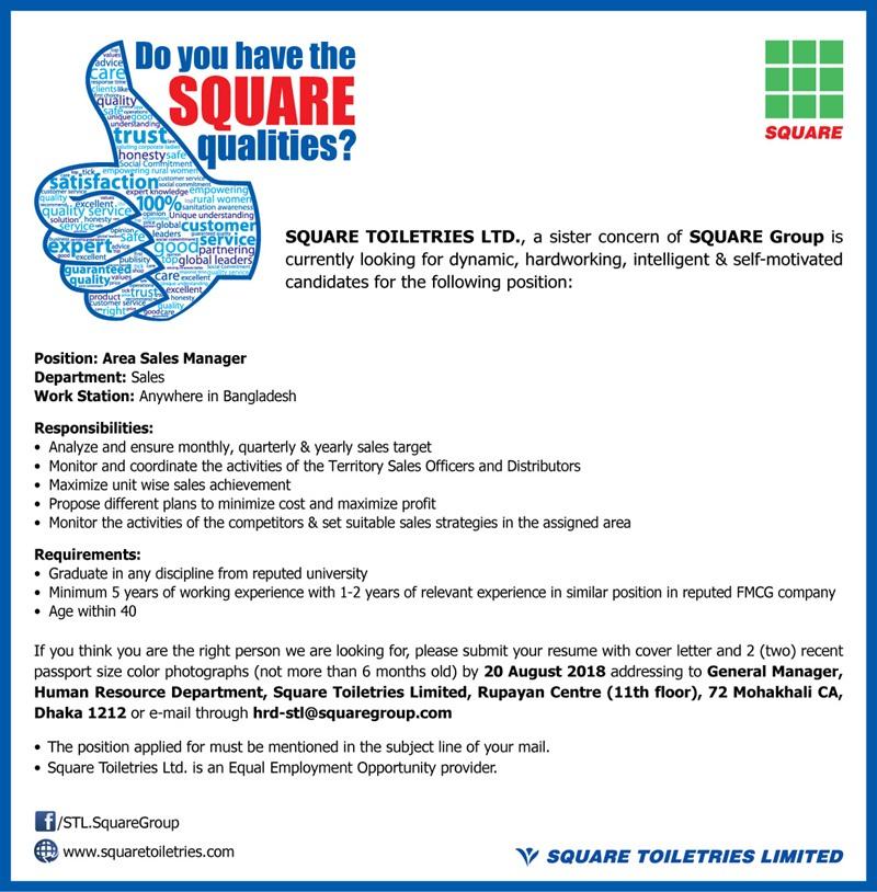 SQUARE Toiletries Ltd Job Circular 2018