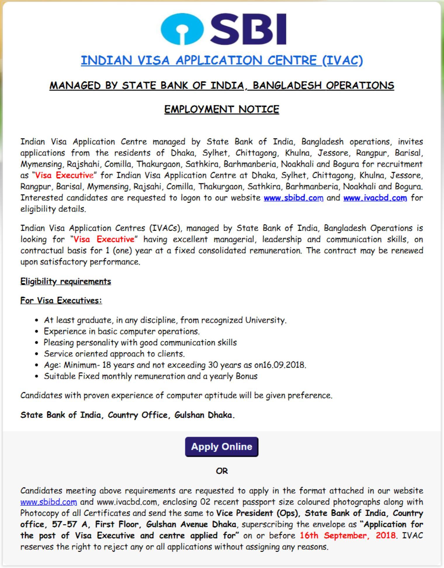 State Bank India Job Circular