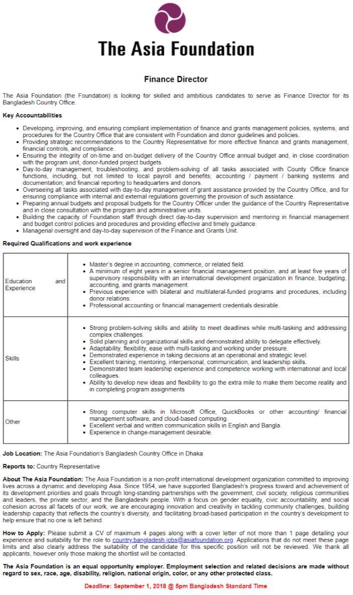 Asia Foundation Job Circular