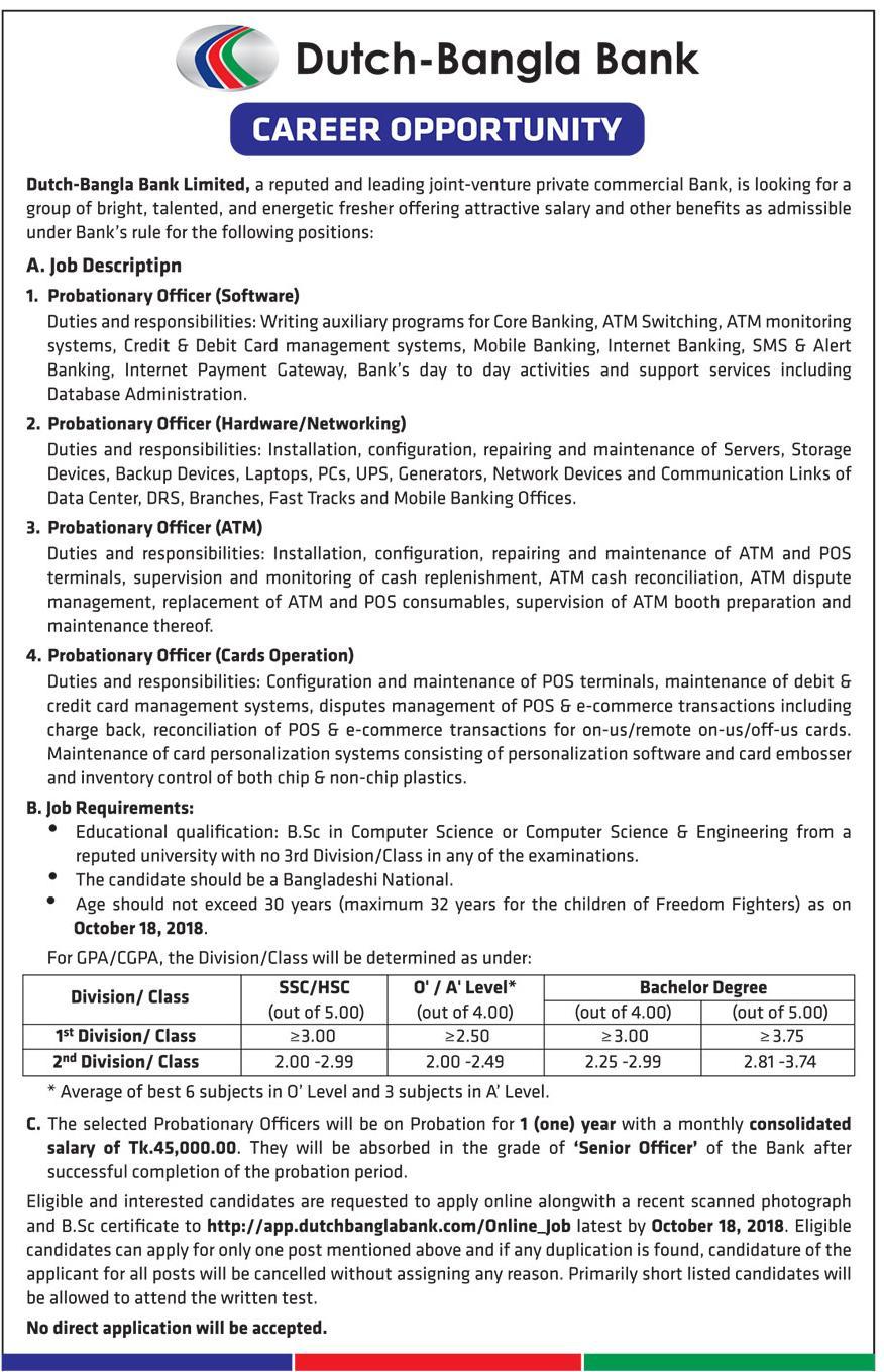 Dutch-Bangla Bank Limited Job Circular