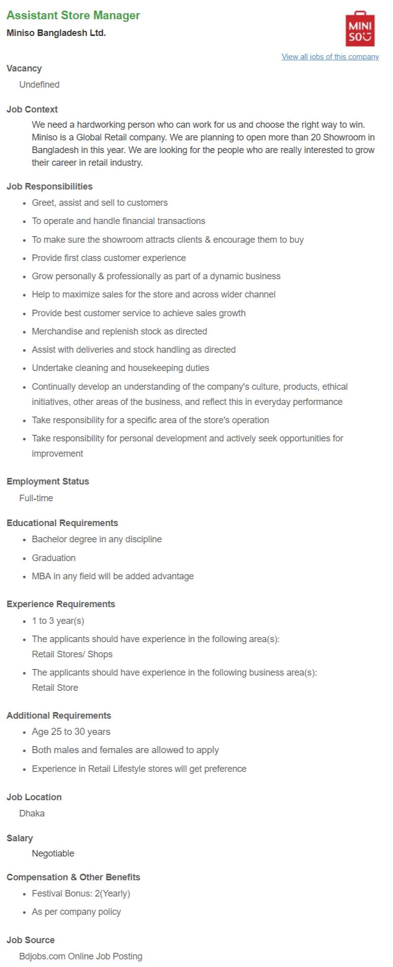 Assistant Store Manager _ Miniso Bangladesh Ltd __ Bdjobs.com