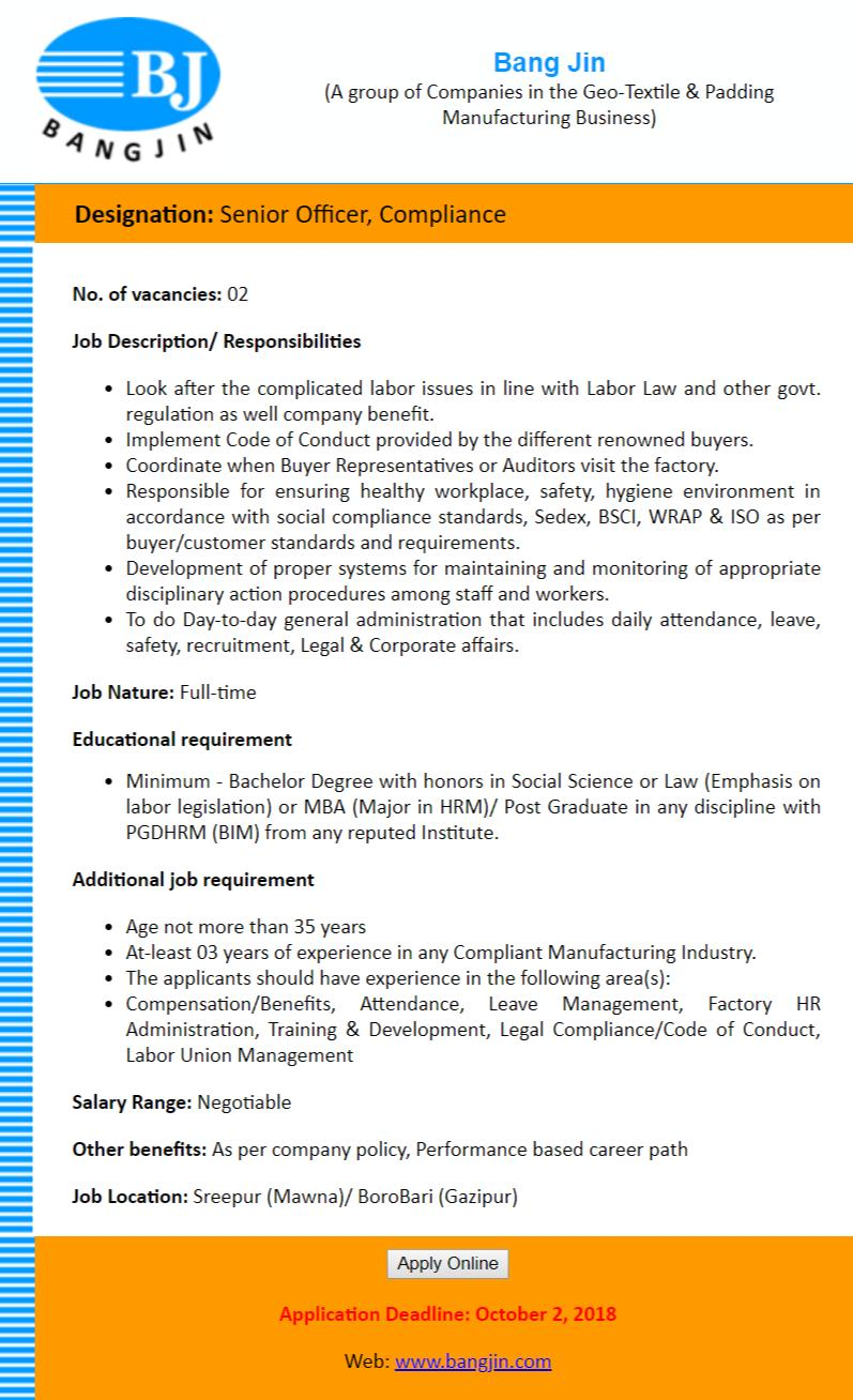 Bang Jin Group Job Circular