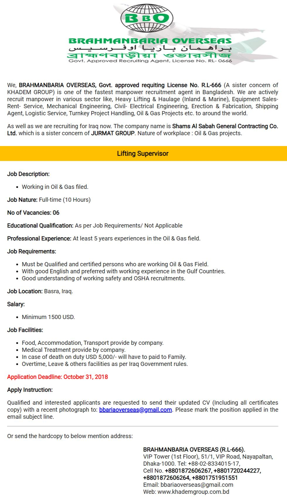 Brahmanbaria Overseas Job Circular