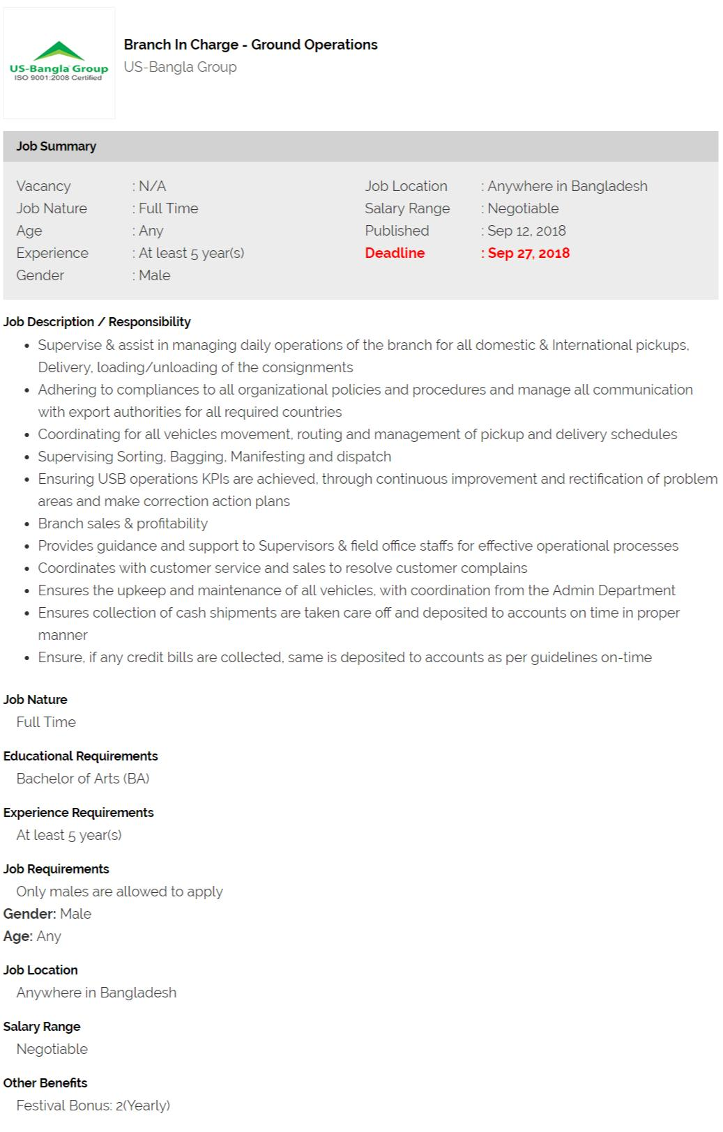 US-Bangla Group Job Circular