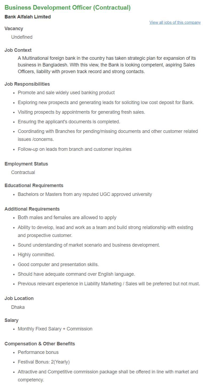 Bank Alfalah Limited job circular