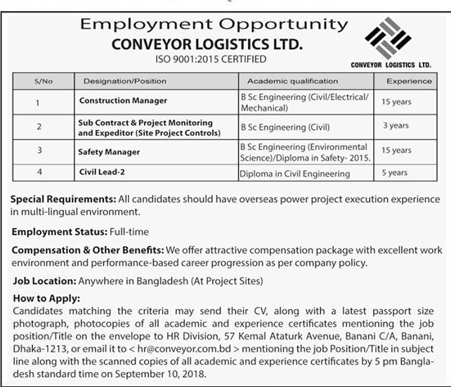 Conveyor Group Job Circular