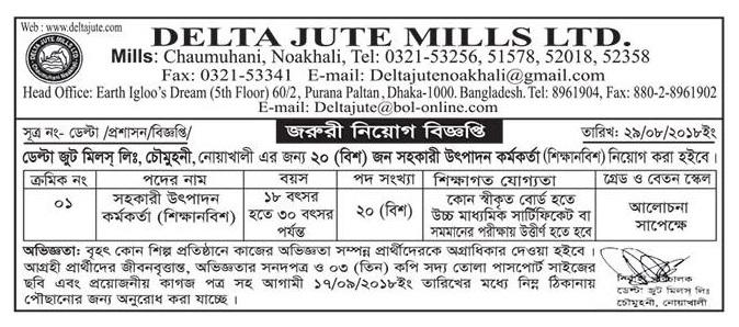 Delta Jute Mills Ltd Job Circular
