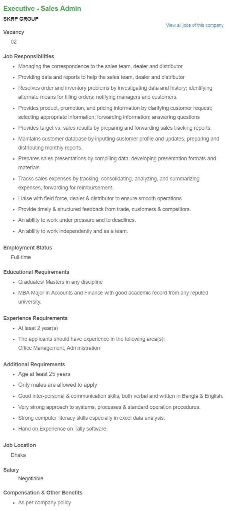 SKRP Group Job Circular