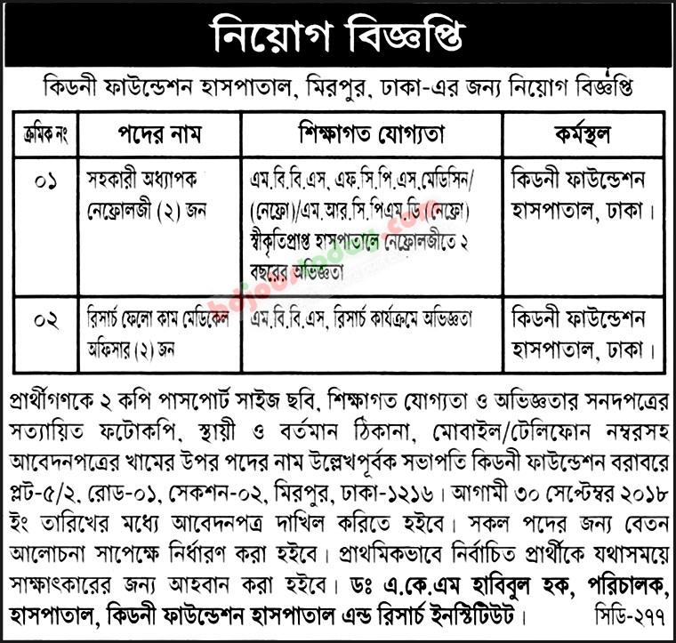 Kidney Foundation Job Circular