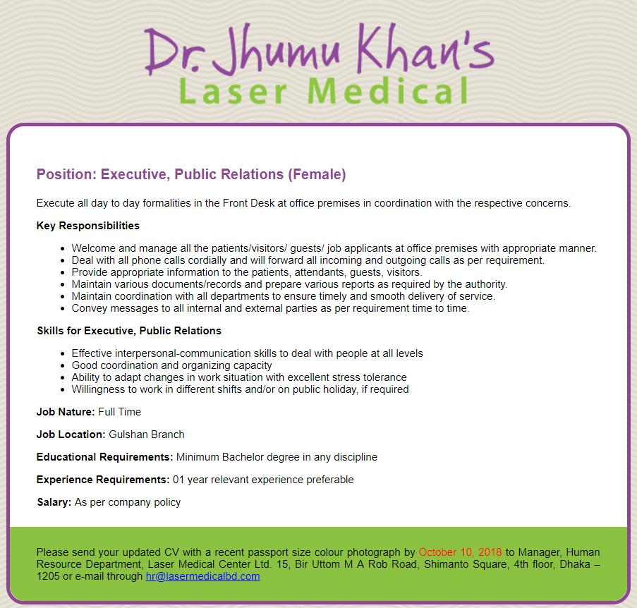 Laser Medical Center Ltd Job Circular