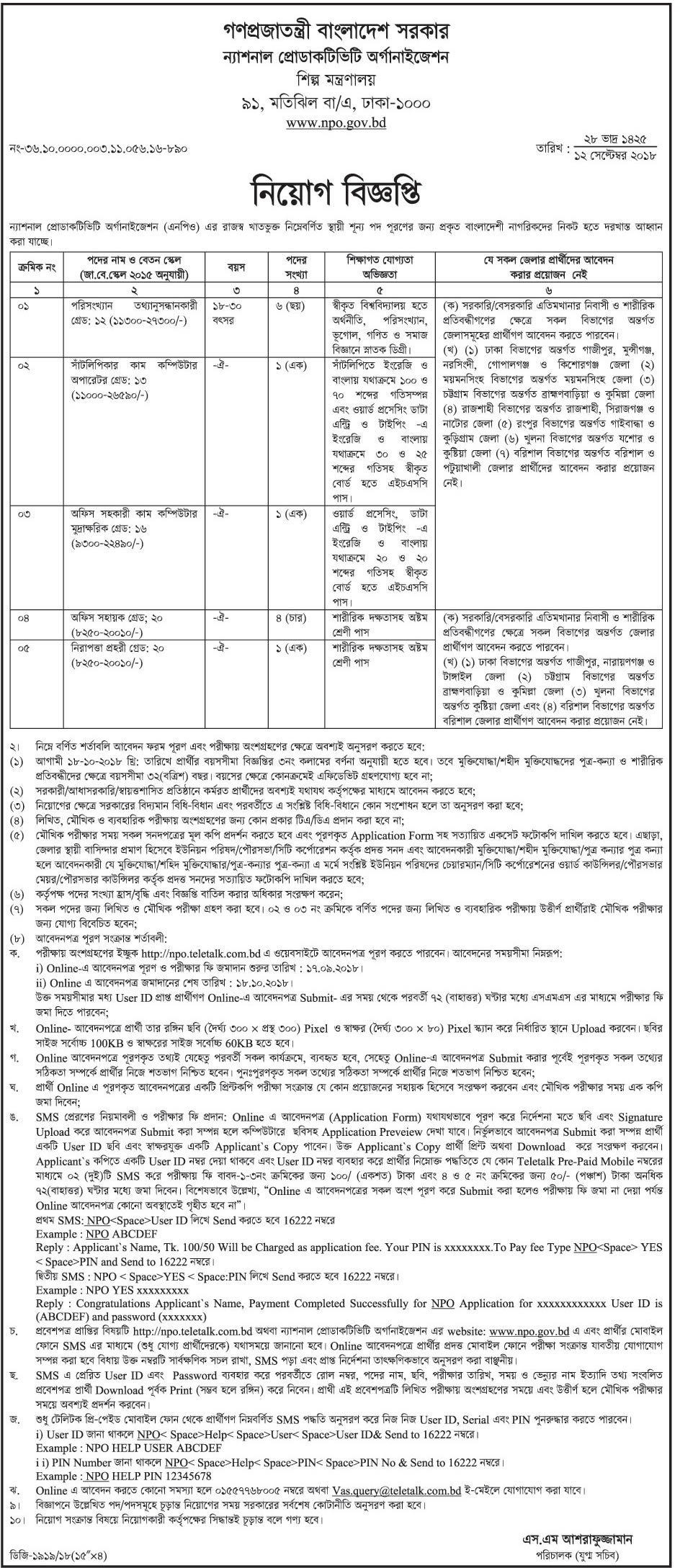 National Productivity Organization NPO Job Circular