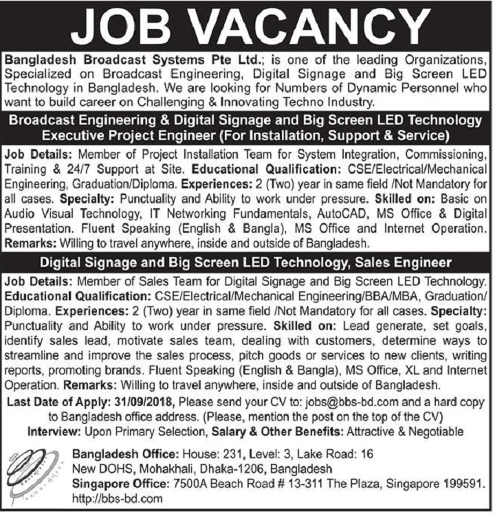 Bangladesh Broadcast System Pte Ltd Job Circular